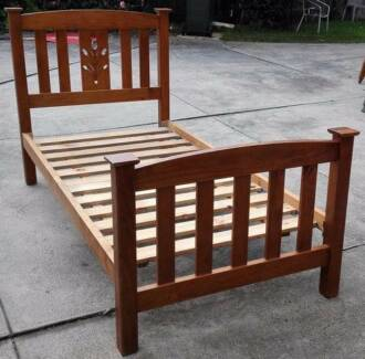 solid timber single bed with mattress