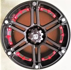 NEW!! 5 AND 6 BOLT black w/red inserts HEAVY DUTY 20 rims - T01 - chevy gmc 1500 ford f150 DODGE JEEP WRANGLER - 692