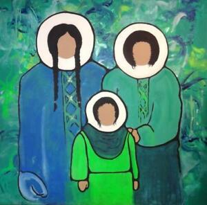 "Oakville HUGE 48X48"" Eskimo Painting Art Blue Green Original Piece Acrylic on Canvas GTA Toronto area"