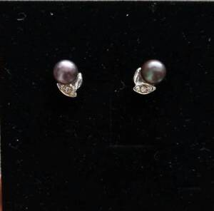 Brand new Natural black pearl & silver ear stud Carlton Melbourne City Preview
