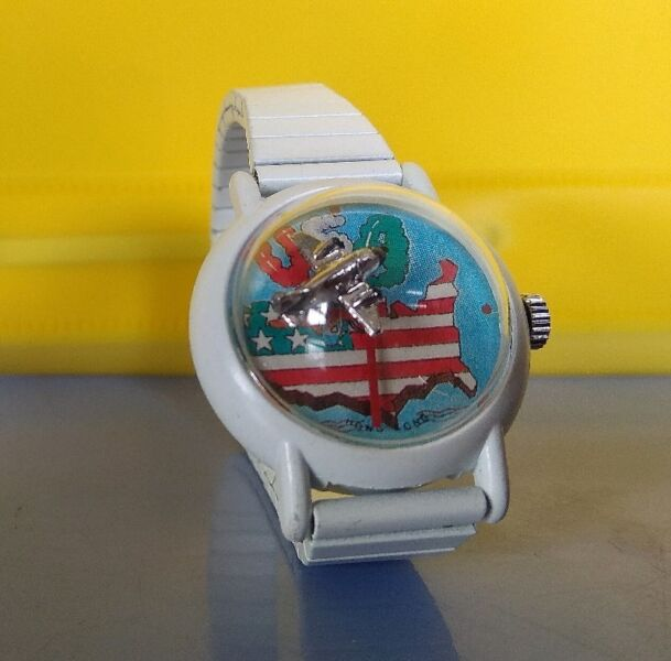 Rare Watch, Fun Watch Old Watch, Flying Plane 3 Dimension as Second Hand Moving Round, Manual Wind