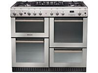 Hotpoint Range Cooker in Stainless Steel - 4 cavities, 6 gas burners, easy-clean Used