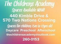 Childcare spaces available! Southside and Northside