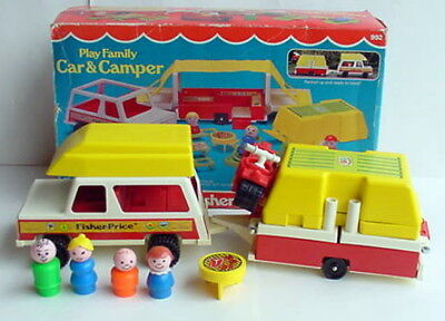 1980 Fisher Price Little People 992 Play Family Car & Camper COMPLETE NICE + Box