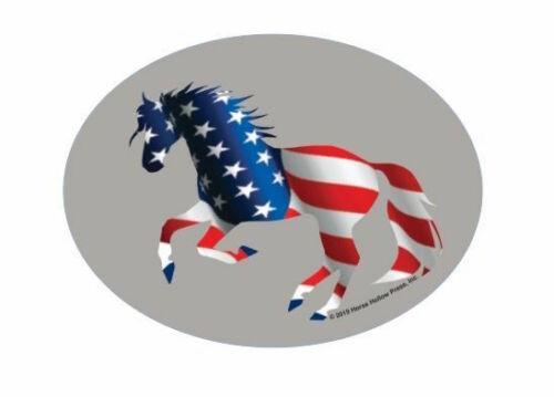 Full Color American Flag Horse Sticker. NEW!