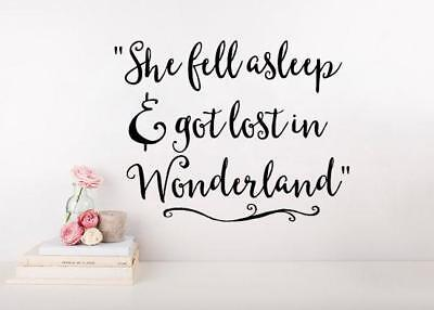 Alice In Wonderland Quote She Fell Asleep And Got Lost In Wonderland Wall Decal - Lost Alice In Wonderland