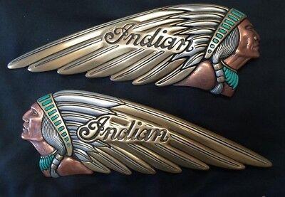Zambini Bros 4 Color Indian Motorcycle Gas Tank Emblem - Badge set NOT Decal