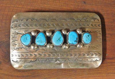 Vintage Navajo Sterling Silver Turquoise Belt Buckle