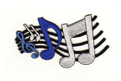 Aufnäher Bügelbild Musik Noten Linien Blau Weiß 7,4 x 5,0 cm (7 Musik-noten)