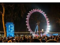 3 London New Years Eve (NYE) Fireworks Tickets including a guide Red Zone with the best view