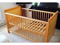 MOTHERCARE BABY COT BED WITH MATTRESS