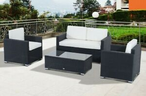 4 Piece Rattan Outdoor Conversation Patio Set