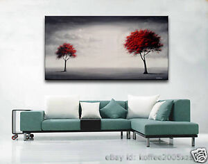 Framed !!! Large Art Modern Landscape Oil Painting On Canvas Tree 24x48 inch