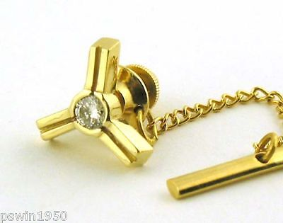 0.15CT Diamond Tie Pin 14K Yellow Gold Mens Tie Pin