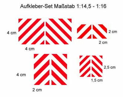 8x Warntafel Modellbau Aufkleber-Set im Wedico- / Tamiya - Maßstab 1:14,5 - 1:16
