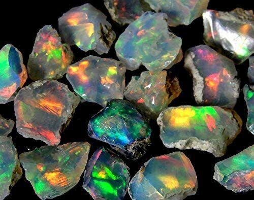100% Natural Ethiopian Opal Rough Lot Amazing Multi Fire,Raw Gemstone,Untreated