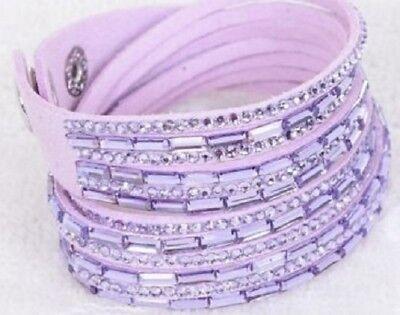 Paparazzi Double Wrap Light Purple Bracelet with Light Purple Colored Stones - Bracelet Light