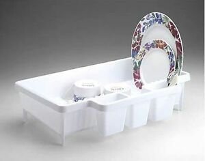 Rubbermaid 8354 00 space saver dish drainer rack new white hard to find - Dish racks for small spaces set ...