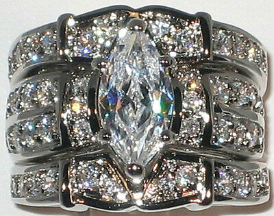 HUGE Marquise CZ White Gold and Rhodium EP Bridal Wedding 3 Ring Set - Size 7