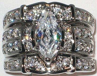 HUGE Marquise CZ White Gold and Rhodium Bridal Wedding 3 Ring Set - Size 8