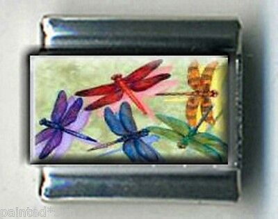 COLORFUL DRAGONFLY DRAGONFLIES 9mm Photo Italian charms for link bracelets Dragonfly Italian Charm Bracelet