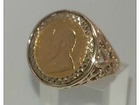 1986 Fine Gold 1/10th Krugerand Coin in 9ct Gold Ring Mount.