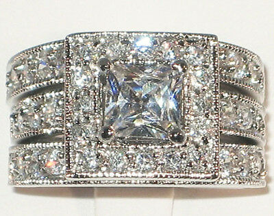 Amazing Antique Princess Cut Cubic Zirconia Engagement Wedding Ring Set - SIZE -