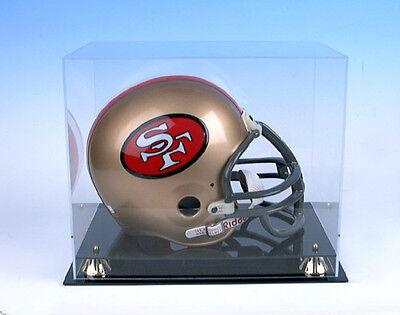 Full Size Football Helmet Display Case Black Acrylic Base Gold Risers Mirror  Black Acrylic Football Display Case