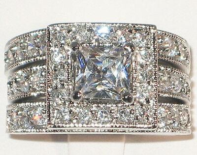 Amazing Antique Princess Cut Cubic Zirconia Engagement Wedding Ring Set- SIZE -
