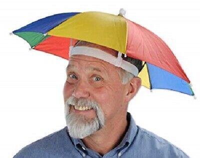 Umbrella Hat Rain Raining Dry Cover Heat Adjustable Colorful Rainbow Folding Cap - Rain Bow Colors