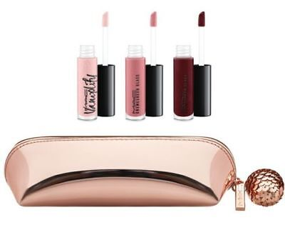 MAC-Mini Lipglass Kit~ROSE~3 Glosses & Rose Gold Bag~Great Gift Rare! GLOBAL! for sale  Shipping to India