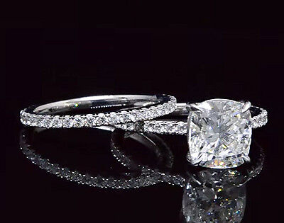3.10 Ct. National Cushion Cut Pave Diamond Engagement Ring Set - GIA Certified