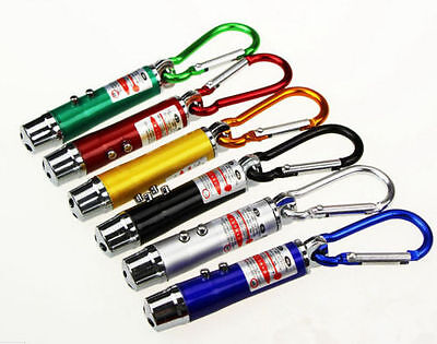 3 in 1 Portable LED Laser Torch Beam Light Flashlight Pen Pointer Keychain