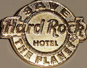 Hard-Rock-Hotel-2009-HRH-Logo-GOLD-Rare-STAFF-PIN-Save-The-Planet-53039