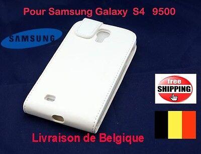 Blanc Flip Pochette Coques flip cuir Pour Samsung Galaxy S4  9500 TOP QUALITÉ