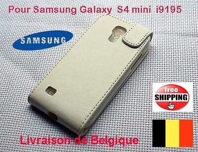 Blanc Flip Pochette Coques Pour Samsung Galaxy S4 mini i9150  TOP QUALITÉ
