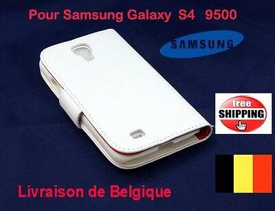 Blanc Flip Pochette Coques Side cuir Pour Samsung Galaxy S4  9500 TOP QUALITÉ