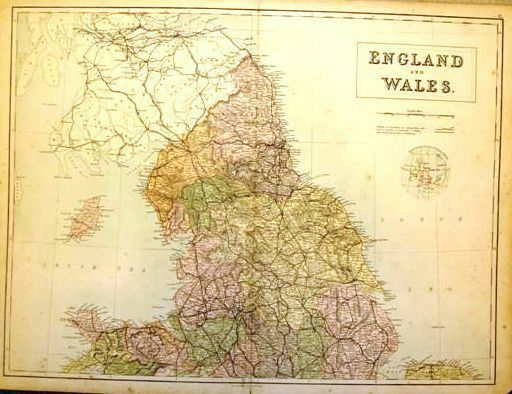 A & C Black  Map - ENGLAND & WALES  - c1875