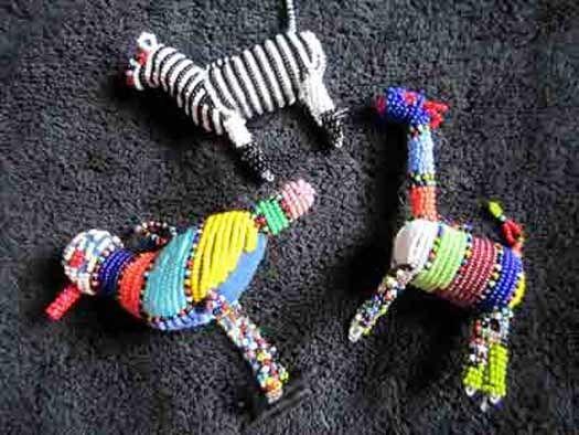 Hand Beaded African Zulu Animal Ornaments - Zebra, Bird, Giraffe #1 - Kwanzaa