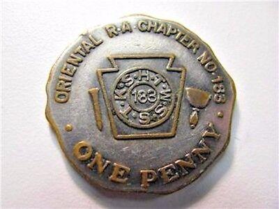 VINTAGE PHILADELPHIA PA ORIENTAL R. A. CHAPTER NO. 183 SHEKEL TOKEN - DELTA, YOD