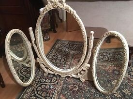 Triple dressing table folding mirror in white and gold ornate / ideal for french dressing table