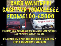 WANTED FOR CASH!! CARS, VANS, TRUCKS, ALSO CARAVANS! FROM £100-£5000! MOT FAILURES ALSO SCRAP!! ££££