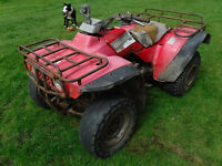 HONDA BIG RED 300 QUAD BIKE STARTS RUNS RIDES SEE VIDEO CHEAP PROPER AGRI FARM ATV