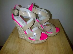 BRAND NEW Neon Pink and Nude Wedge