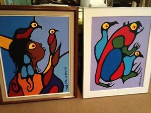 2 Norval Morrisseau original acrylic paintings on canvas