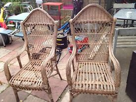 set of 2 cane chairs good condition only £12.00