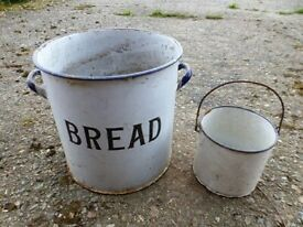 LARGE ENAMEL BREAD BIN and MILK CONTAINER