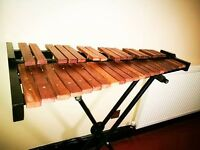 Xylophone, 3 octave rosewood practise xylophone, with adjustable stand and soft case - used