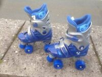 Beginners Roller Skates - Adjustable for Size 1,2,3.4. Hardy used at all - Bargain at just £5