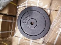 2 x 20kg cast iron standard weight plates- Brand new and boxed.